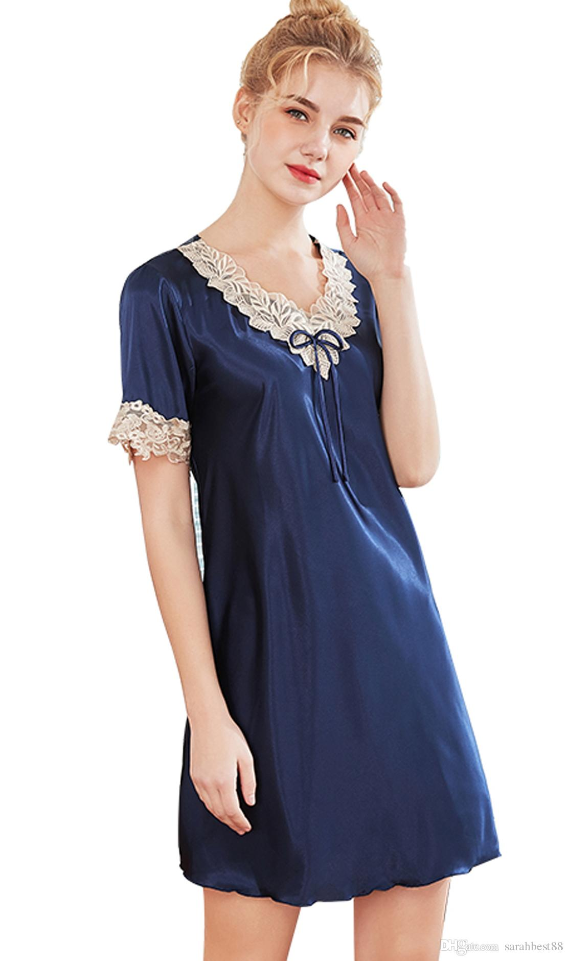 40f0011f54d5 2019 Women Girl Short Nightdress Summer V Neck Short Sleeves Silk Satin  Pajamas Sexy Ladies Tunic Nightwear Sleepshirts From Sarahbest88