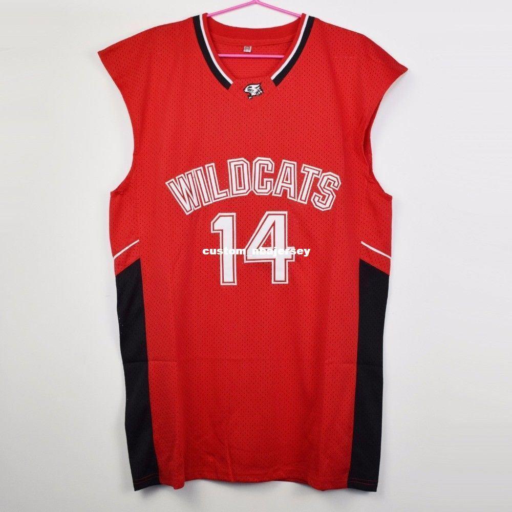 Acheter Personnalisé Pas Cher Zac Efron   14 Maillot De Basketball Wildcats  High School Troy Bolton Est Lycée Rouge Personnaliser Un Nom De Numéro  HOMME ... e5e17fa01ad
