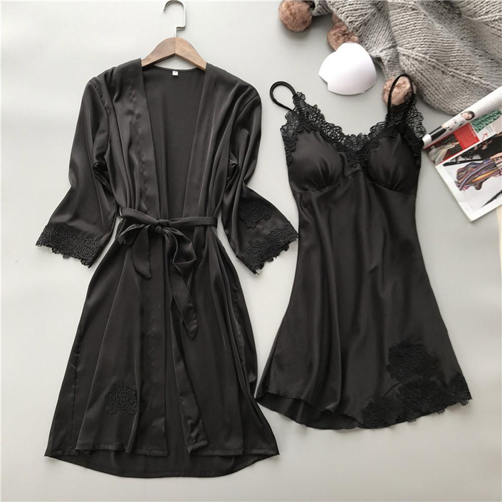 Nachthemd & Bademantel-sets 2 Pcs Dessous Set Frauen Silk Pyjamas Sexy Spitze Robe Sets Damen Nachthemd Nachtwäsche