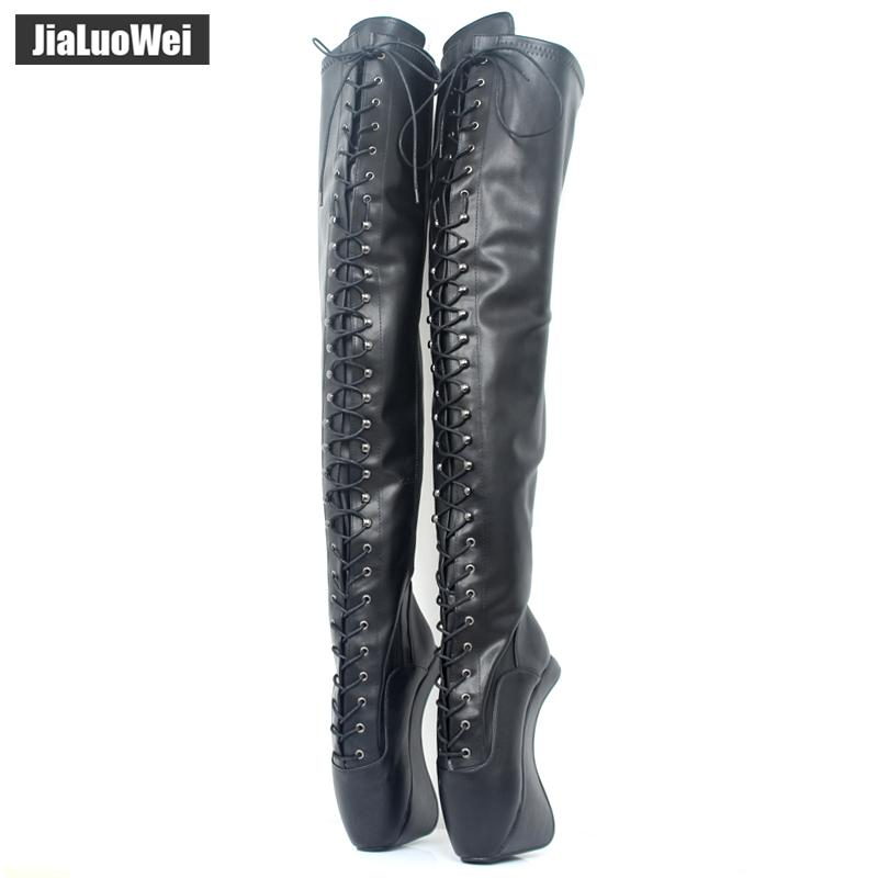 Extreme High Heel 18cm/7'' Heel lace up Patent leather Ballet Boots Unisex Hoof Heelless Sexy Fetish Thigh Over-the-Knee Boots