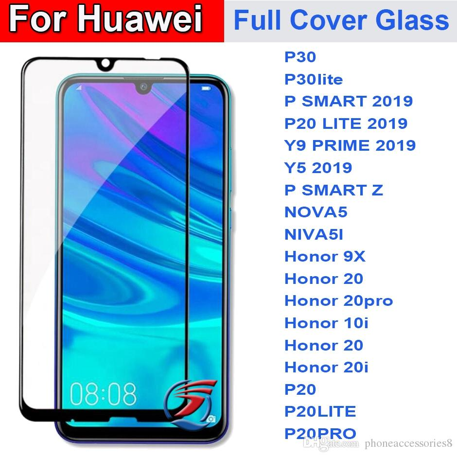 Full Cover Tempered Glass Phone Screen Protector For Huawei P30 lite P  SMART Z 2019 P20 LITE Y9 PRIME Y5 2019