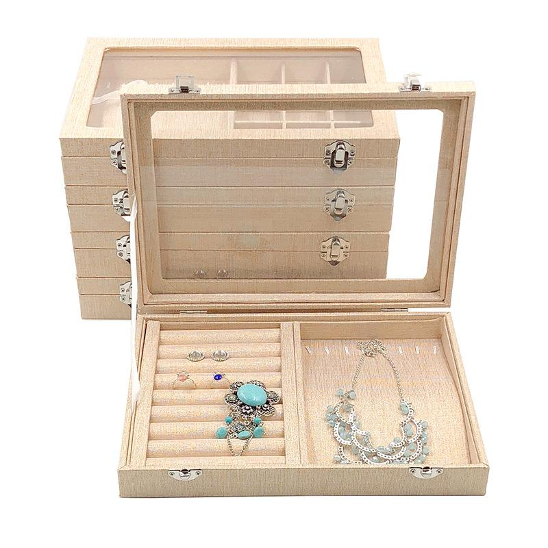 Medium Linen Carrying Case with Glass Cover Jewelry Ring Display Box Tray Holder Storage Box Organizer Earrings Ring Bracelet Bo