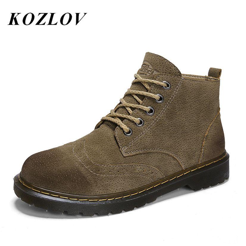 616e70f6b09 Compre Venta Al Por Mayor Botas Martin Para Hombre Zapatos Brogue De Gamuza  De Cuero Casual Vintage Botines Militares Para Hombres Botas De Trabajo De  ...