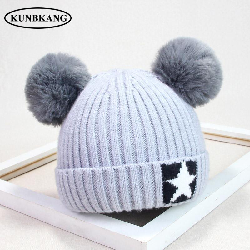 f427f067b52 2019 Baby Boys Girls Pom Pom Hat Children Winter Hat For Kids Knit Beanies  Thick Baby Hats With Pompom Infant Toddler Warm Beanie Cap From Litchiguo