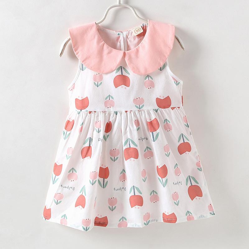 1626d542da183 Satın Al Kız Çocuk Giyim Elbise Kolsuz Pent Pan Yaka Lale Baskı 100% Pamuk  Kız Yaz Lolita Prenses Elbise, $6.14 | DHgate.Com'da