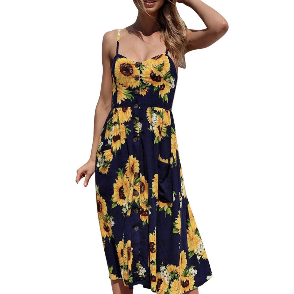 b5154fc99ac1 Women Sunflower Printing Dress Pockets Buttons Front Sleeveless Dresses  Summer Knee Length Vintage Beach Dress #BF Online with $40.03/Piece on  Liasheng10's ...