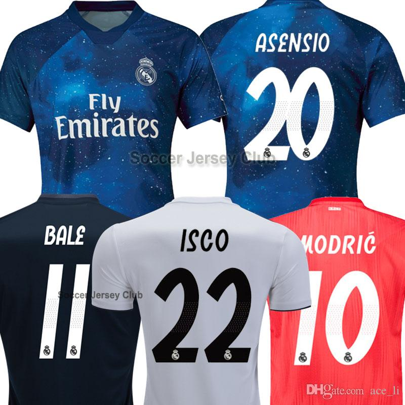 1144059086 Compre 18 19 Real Madrid Camisa De Futebol RONALDO BALE ISCO 2018 2019  Soccer Jerseys Football Shirt Champions League Liga Dos Campeões ASENSIO  MODRIC 13 ...