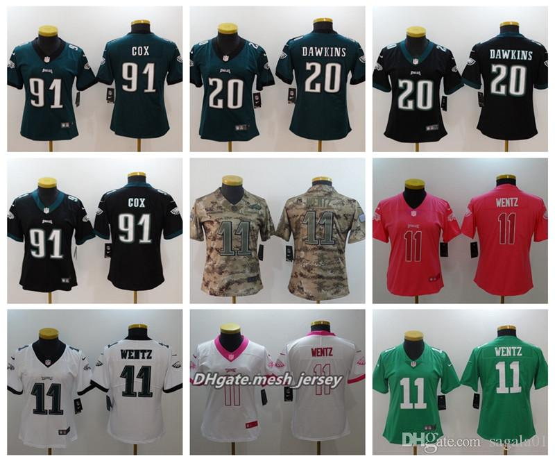 Women Philadelphia Eagles American Football Jersey 11 Carson Wentz ... 8e6b3ebab