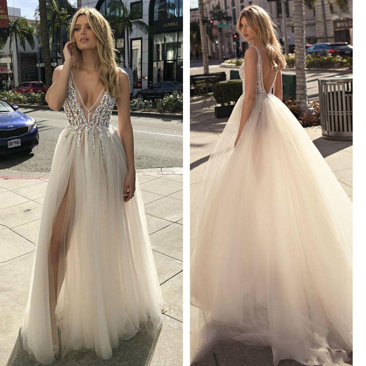 8be841a89a17 Discount Berta A Line Split Wedding Dresses 2019 Sexy Spaghetti V Neck  Backless Beaded Bridal Gowns Sweep Train Wedding Dress Sexy Wedding Gowns  Top Wedding ...