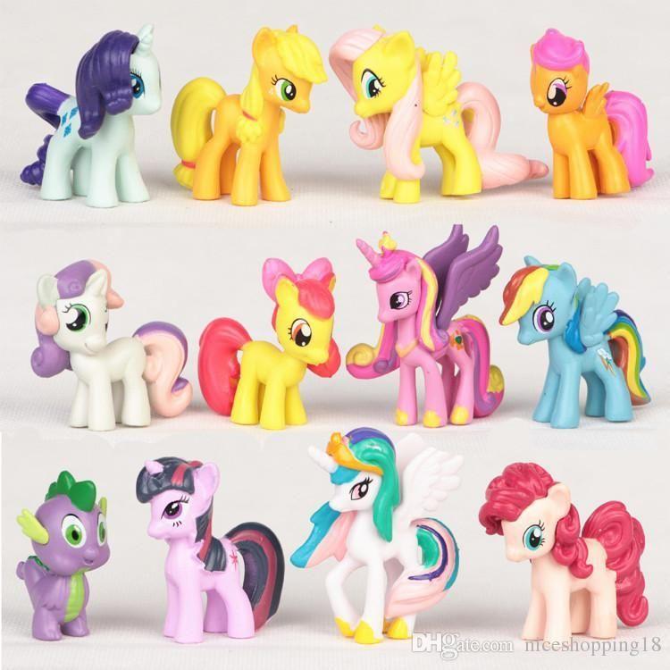 low price Excellent 12pcs/set unicorn Rainbow Dash horse model Action  Figure toys ponies horse model For Children Gift