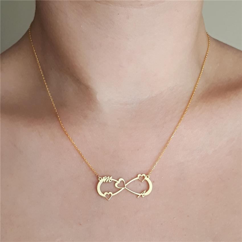 Acheter Infinity Initial Collier Personnalise Argent Or Rose Chaine