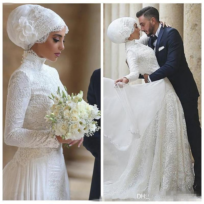2019 Modest Arabic Dubai Lace Wedding Dresses With High Neck Long Sleeves Lace Appliques Floor Length Muslim Wedding Dress Vestidos De Novia