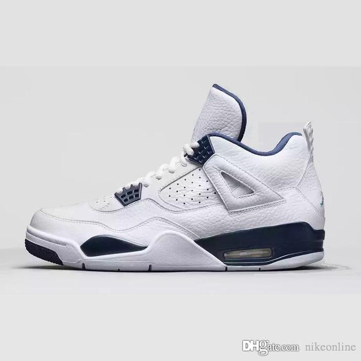 big sale 1942d 1a1bf 2019 Cheap Womens Retro 4s Basketball Shoes Pure White Money Navy Blue  Denim Jeans Kids J4 Air Flights Jumpman Iv Sneakers Boots With Box From  Nikeonline, ...