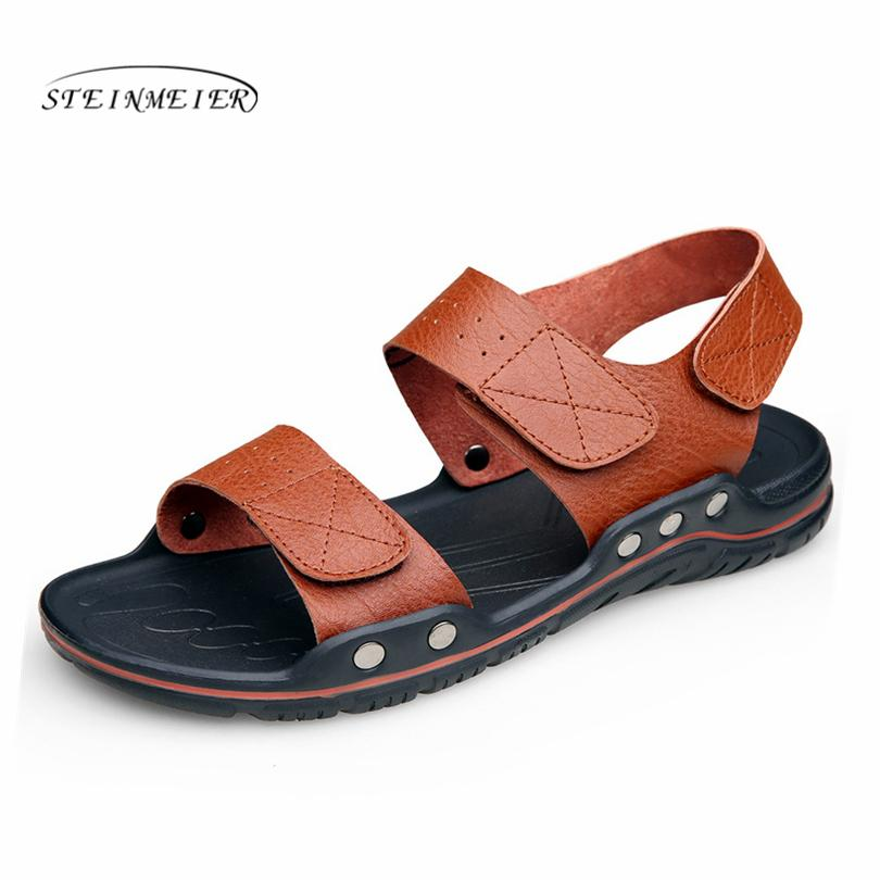 978a1606375dde Steinmeier Men Beach Sandals Casual Summer Leather Slippers For Men Outdoor  Sandals 2019 Man Footwear Shoes Sandalias Hombre High Heels Shoes Green  Shoes ...