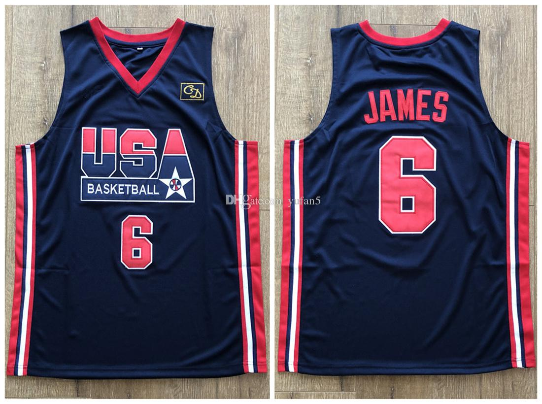new product 8fa02 decb5 1992 Dream Team USA LeBron James #6 Retro Basketball Jersey Men's Stitched  Custom Any Number Name Jerseys