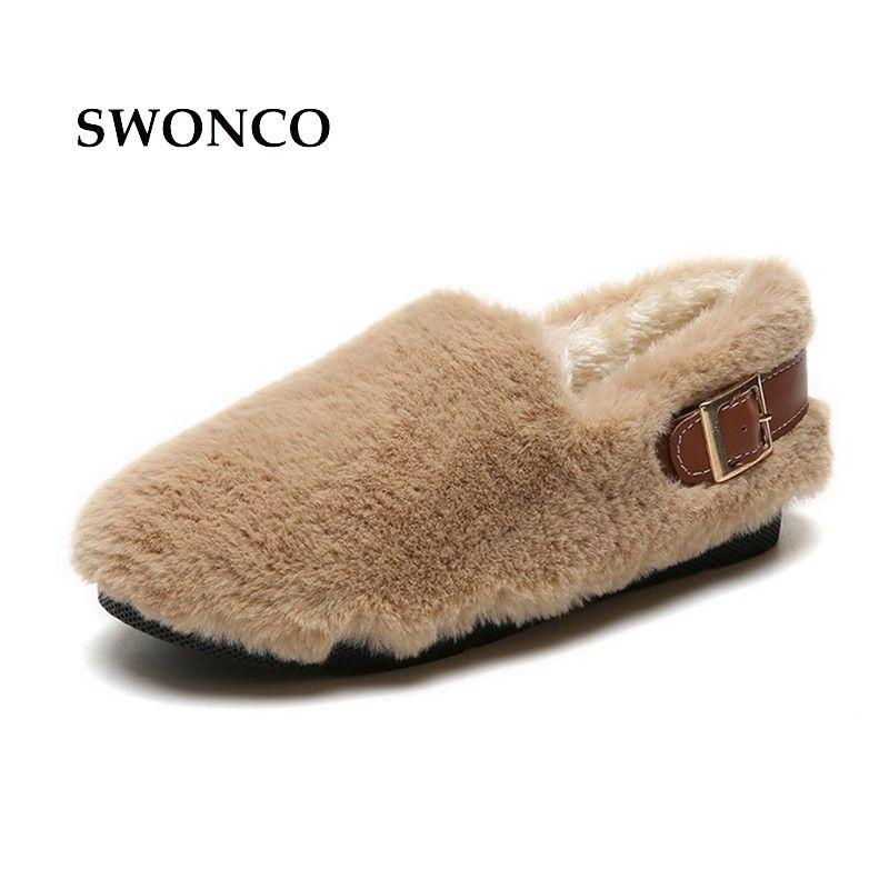 4d3320f91c2 SWONCO Women S Loafers 2018 Winter Korean Style Warm Plush Comfortable Girl  Flats Shoes Woman Winter Fur Loafers Woman Shoes  10967 Mens Sandals Dress  Shoes ...