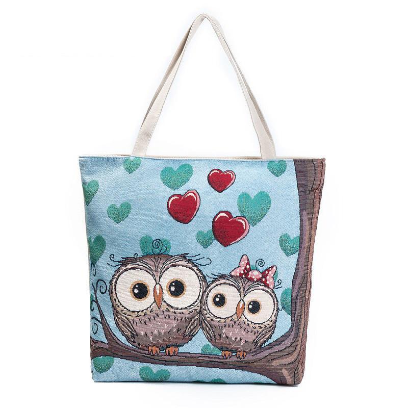 7dec2607b83 Good Quality Cartoon Owl Printed Shoulder Bag Women Large Capacity Female Shopping  Bag Canvas Handbag Summer Beach Bag Ladies Online with $34.54/Piece on ...