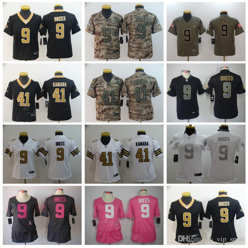 0e98765ab Youth 9 Drew Brees Women Jersey New Orleans Saints Football 41 Kids Alvin  Kamara Jerseys Lady Woman Children Black White Pink Camo UK 2019 From  Vip sport