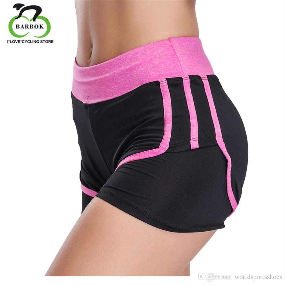 f899caecdbf9a BARBOK Double Layer Sports Gym Yoga Shorts Women Push Hips Hot Middle  Waisted Fitness Elastic Quick Dry Running Shorts #278681
