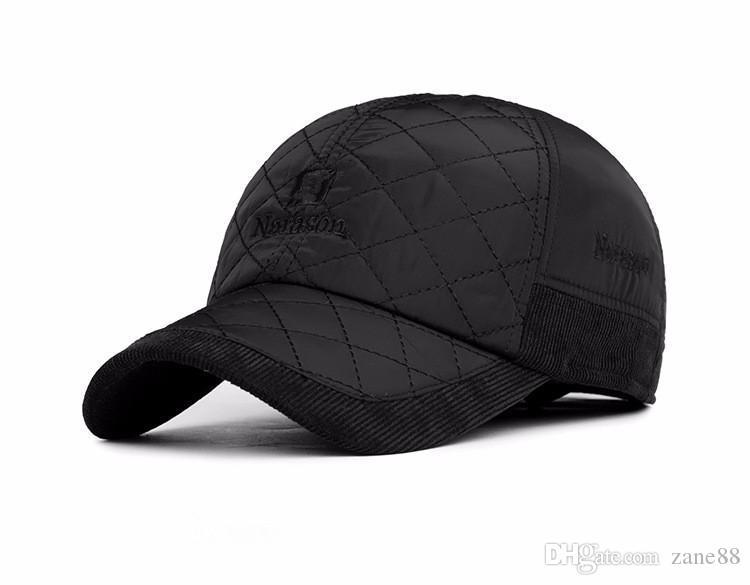 Warm Winter Baseball Cap Men Brand Snapback Black Solid Bone Baseball Mens Winter  Hats Ear Flaps Caps Hats Fitted Cap From Zane88 a7d54dc5a1d