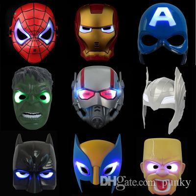 LED Glowing Light Mask hero SpiderMan Captain America Hulk Iron Man Mask For Kids Adults Party Halloween Birthday