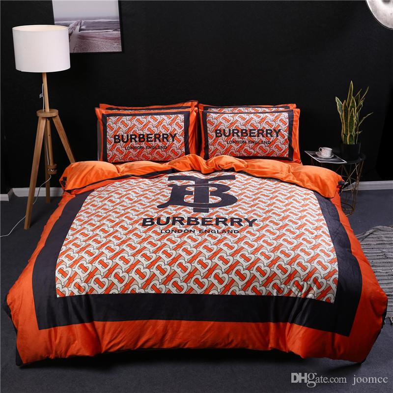 Orange Quilt Cover Sets Queen Size Soft Velvet Quilt Cover King Winter Man And Women Comforter Set Bedding