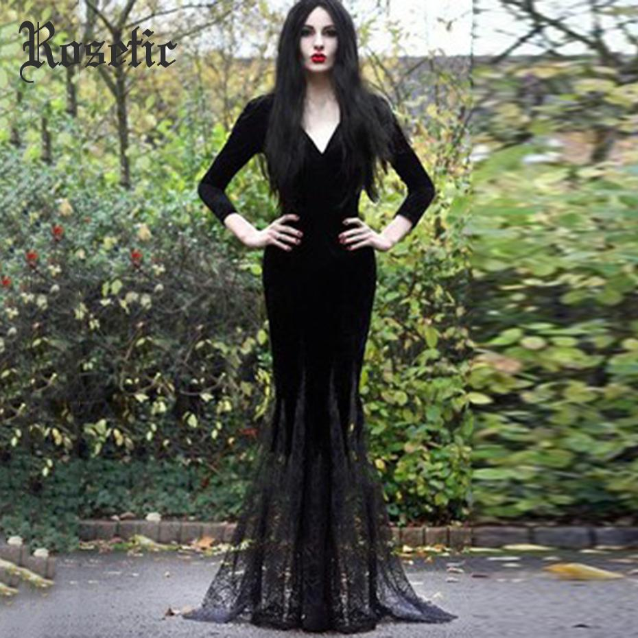 42f580e2a7d Rosetic Harajuku Goth Long Autumn Maxi Dress Deep V-neck Sexy Bodycon Party  Dress Party Retro Mesh Plus Size Female Vestidos Y190426