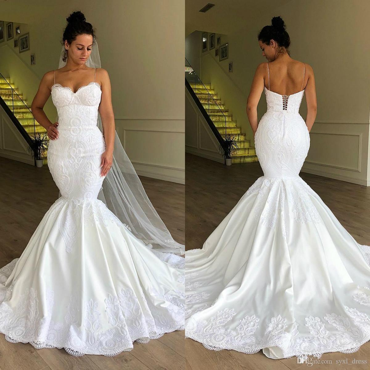 d14118fa44616 2019 South African Plus Size Mermaid Wedding Dresses Bridal Gowns Vestido De  Noiva Robe De Mariée Spaghetti Neck Lace Up Chiffon Wedding Dresses Designer  ...