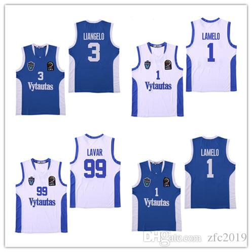 0f371480a20 Cheap Lithuania Prienu Vytautas Basketball Jersey Men Shirts 1 LaMelo Ball  3 LiAngelo Ball Uniform 99 LaVar Ball Team Blue White Logos Cheap