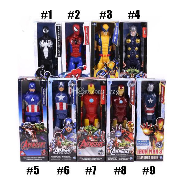 The Avengers PVC Action Figures Marvel Heros 30cm Iron Man Spiderman Captain America Ultron Wolverine Figure Toys