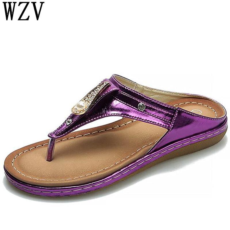 a0133a005 2019 Summer New Comfortable Bohemia Flat Women Sandals Woman Flip Flops  Vintage Women Shoes Beach Rhinestone Sandals W683 Gold Sandals Sandals For  Women ...