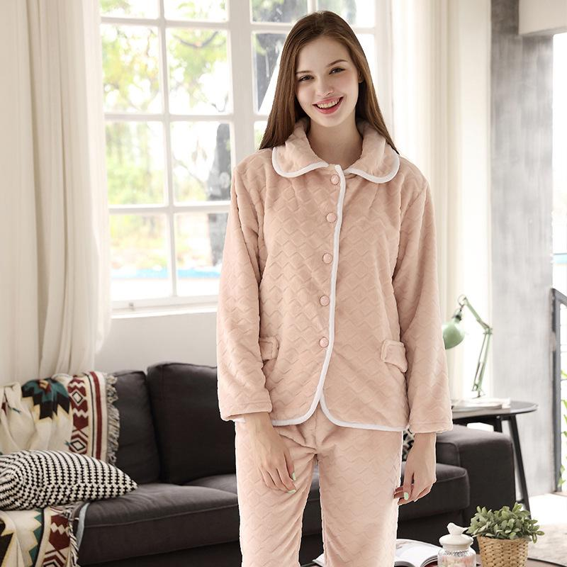 17f353e0caf 2019 Womens Flannel Pajamas Couple Set Sleepwear 2019 Autumn Winter Plus  Size Nightwear Pants Sexy Home Suit Household Warm From Samanthe