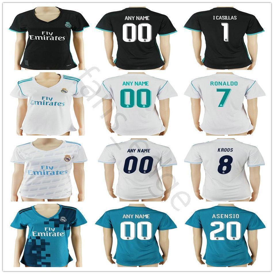 huge discount 41471 84e5f Women Real Madrid Soccer Jerseys Sergio Ramos Ronaldo Kroos Benzema Bale 10  Modric Marcelo Morata Isco Lady Girl Football Shirt