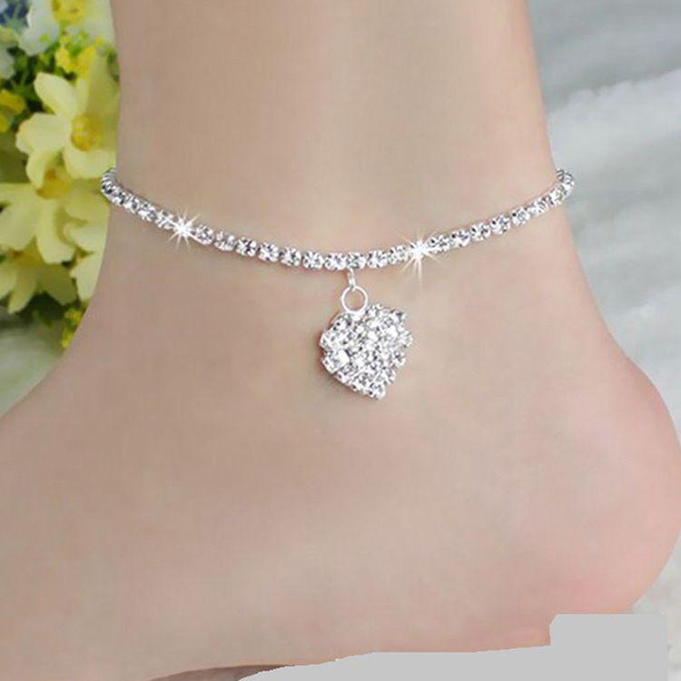 Jewelry & Watches Anklets Cadena De Tobillo Acero Cristal Azul Encanto Lazo Joya