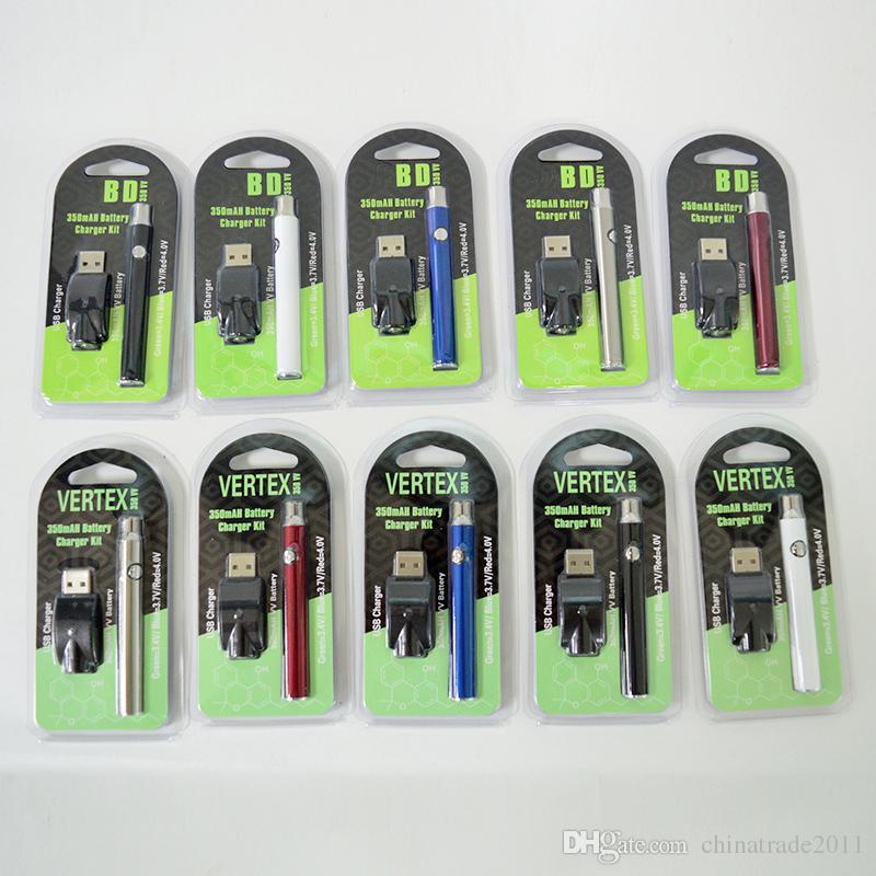 510 fil Vape Batterie Préchauffage Vape Stylos batterie 350mAh Tension de variable 510 cartouches de batterie Vertex E Cigarettes Batteries vapes