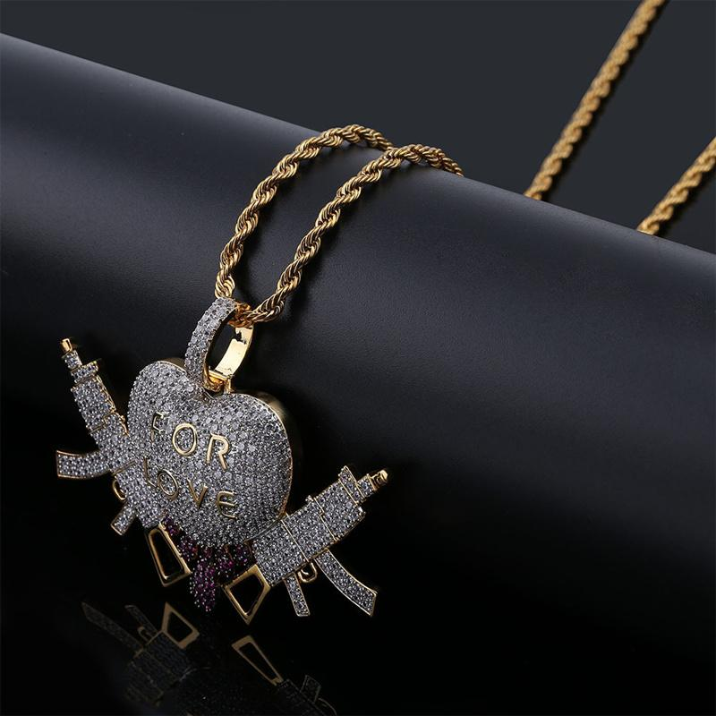 18K Gold Plated Necklace Pendant Jewelry Luxury Men Women Rappers Street Fashion Bling Zircon Copper Love Heart Guns Hip Hop Necklaces