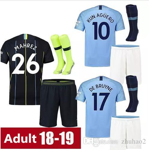 75b0a3400 2018 19 Soccer Jerseys City kids kit DZEKO KUN AGUERO KOMPANY TOURE YAYA DE  BRUYNE Home Shirt kids uniforms +socks
