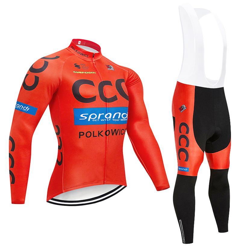 Compre UCI 2019 CCC EQUIPE De Inverno Camisa De Ciclismo Bicicleta Conjunto  De Roupas Ropa Ciclismo Invierno Longo Bicicleta Jersey 9D Gel Pad Bib  Calças ... b2fcbe8050734