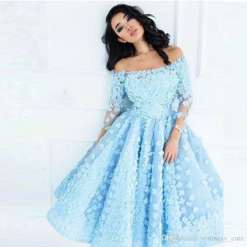 ae1c7bec607ae Pretty Sky Blue Short Prom Dresses With 3D Flowers Tea Length Long Sleeves  Off Shoulder Evening Gowns Cocktail Party Dress Robe De Soiree Aqua Prom  Dresses ...