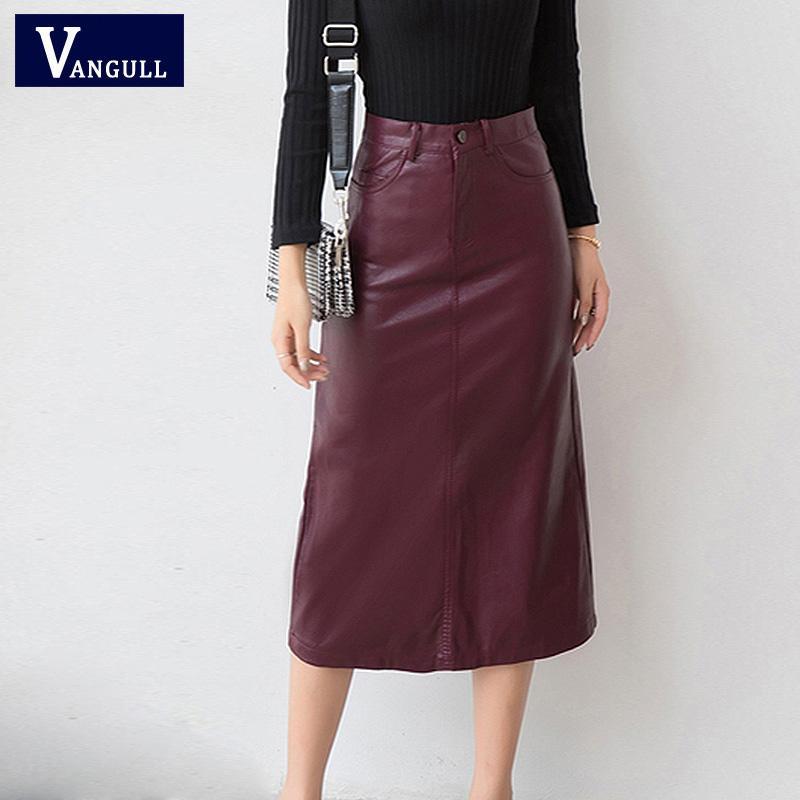 16ddcf549 Otoño Invierno Elegante Cuero de LA PU Falda Mujeres 2018 Nueva Falda Larga  Moda Abrigo de Bolsillo Cadera Alta Cintura Delgada Lápiz Faldas Rojo ...