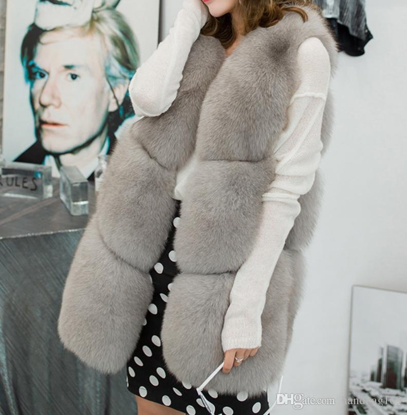 Invierno Mujeres Faux Piel Chaleco Moda Cálido Sin mangas Faux Fox Piel Abrigo Chaqueta Mujeres Fluffy Grueso Piel Chaleco Abrigo