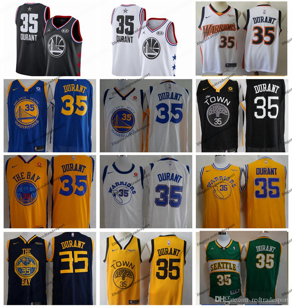 wholesale dealer d91a0 4adb5 2019 Earned #35 Golden Kevin Durant Warriors Edition Basketball Jerseys  Cheap City Kevin Durant Edition Stitched Shirts S-XXL