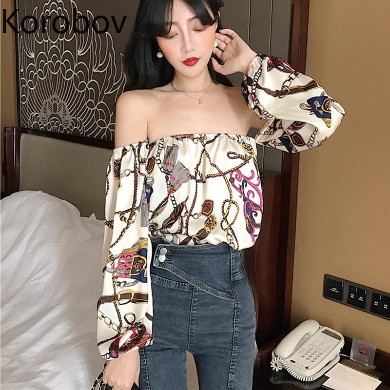 cbf1b61289c1 2019 Korobov Korean Sexy Slash Neck Off Shoulder Women Blouse Long Sleeve  New Bohemian Print Female Shirts Slim Short Blusas 77062 From Yuancao, ...