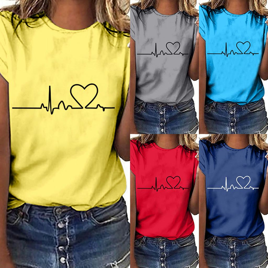 8e0cb0d22b feitong 2019 summer sexy style tops Women Girls Plus Size Heart beat Print  Short Sleeved T-shirt Tops Slim Fitting casual Tshirt