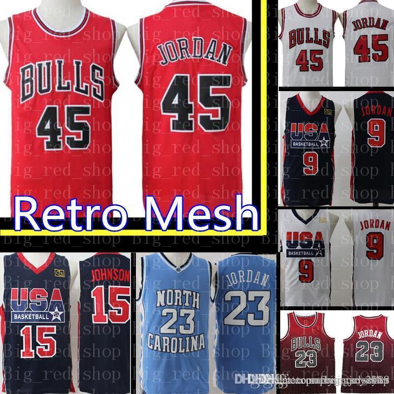 finest selection 82647 b563f 45 Michael Chicago Bull USA 9 Michael 15 Jersey Bulls Retro Mesh Embroidery  Basketball Jerseys Cheap wholesale S-XXL