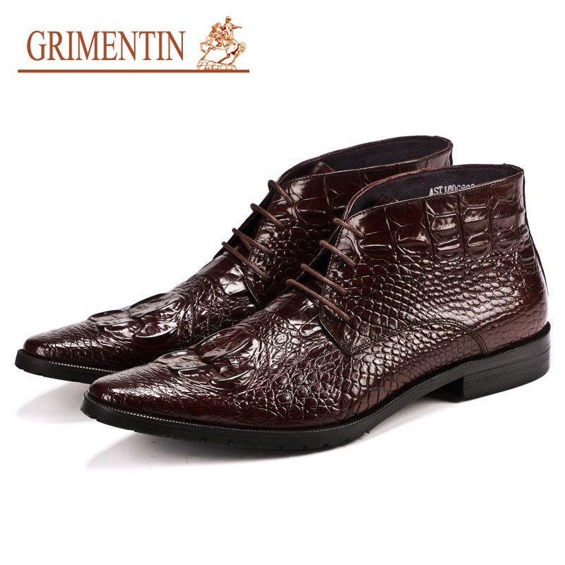 a2c524b142 GRIMENTIN Stivali da uomo in vera pelle stile coccodrillo Designer di moda  italiano Abiti da uomo formale di marca stivaletti da uomo di marca di ...