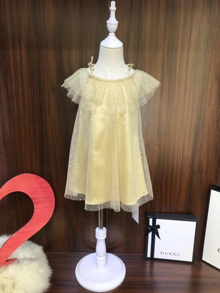 New fashion wild newest simple summer hot gold fairy skirt lace princess dress