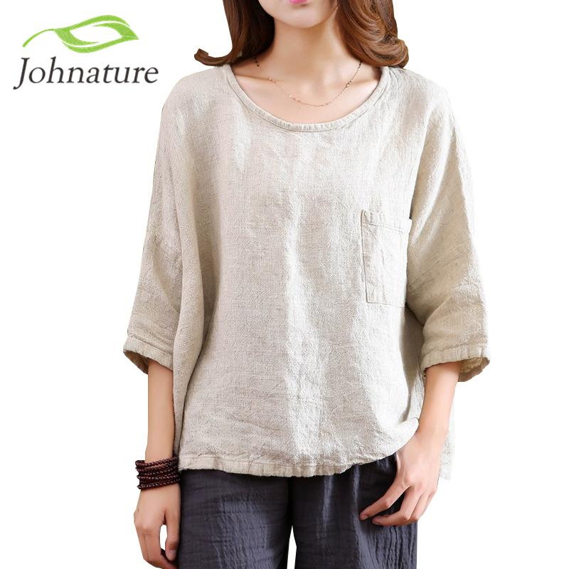 Johnature 2019 Spring New Women T-shirts Original Half Sleeve Cotton Linen O-neck Loose Casual High Quality Pockets Vintage TopY19042002