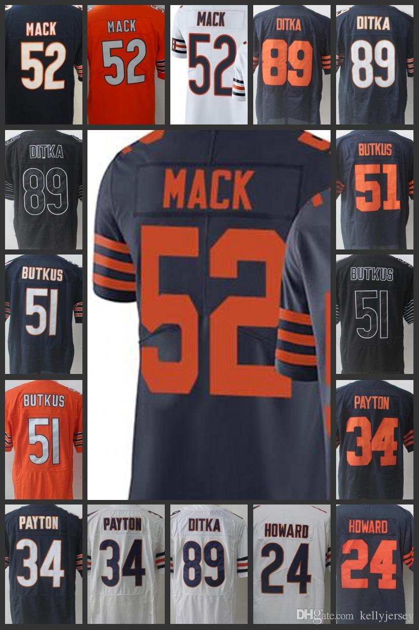 buy popular 24a80 48980 Chicago Men Bears Women Youth #52 Khalil Mack Floyd Jerseys 29 Tarik Cohen  34 Walter Payton 24 Howard 89 Ditka Limited Embroidery Jersey