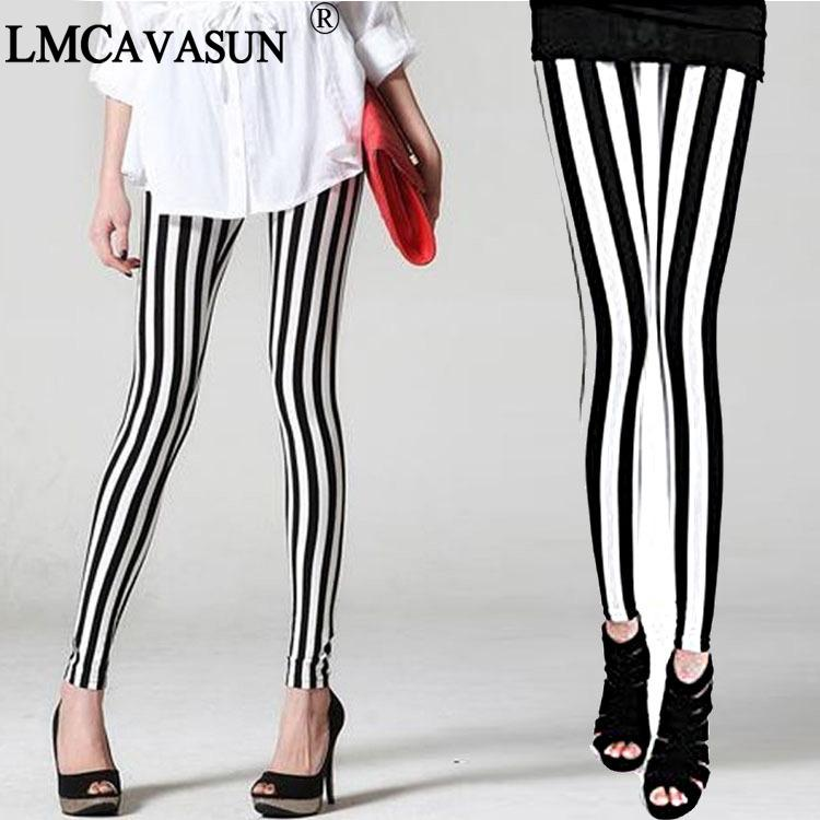 LMCAVASUN fashion Women's Clothing Milk silk Striped cropped leggings Women's printed stretch pants